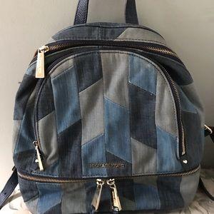 Michael Kors Bags - Michael Kors Denim MK Leather Medium Backpack